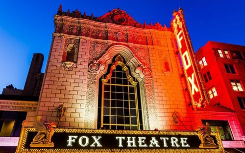 Fox Theatres entrance with a neon fox sign