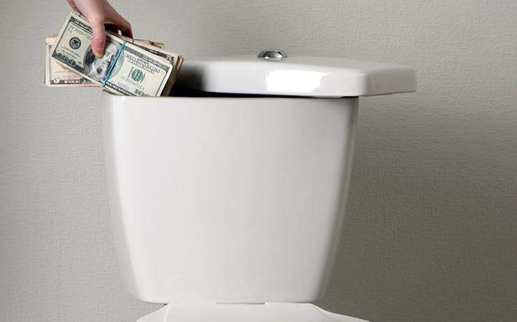 Money hidden in toilet