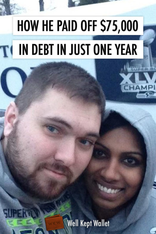 Couple in front of superbowl banner with text