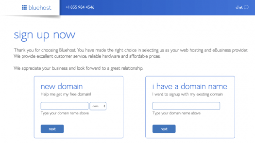 bluehost sign up page