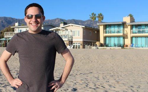 Eric Rosenberg on a beach