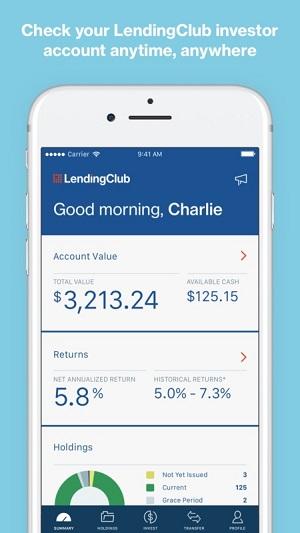 screenshot of the lending club mobile app