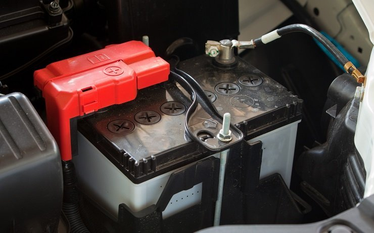 car battery in the engine