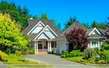 Front outside view of a house with blue sky and trees around it