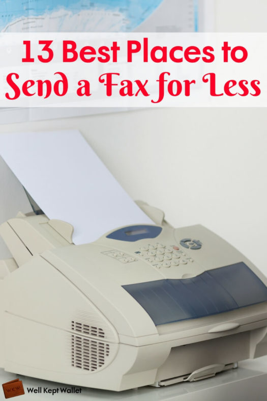 Woman standing by fax machine
