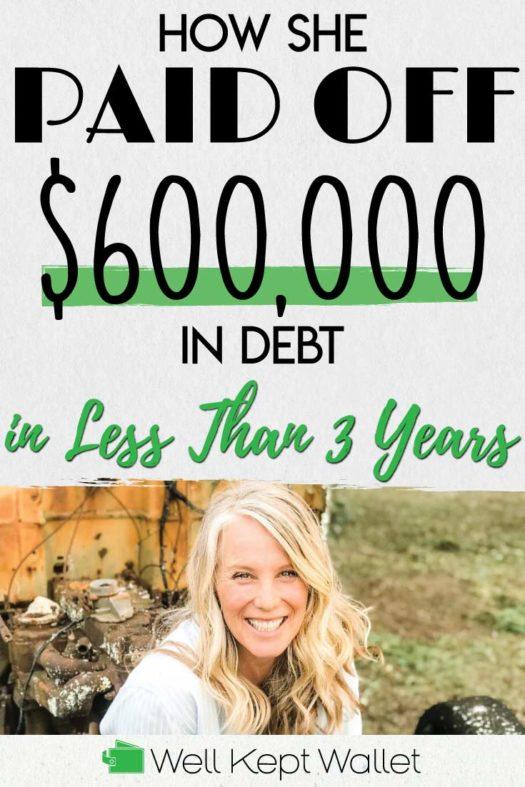 600k debt in 3 years Pinterest Pin