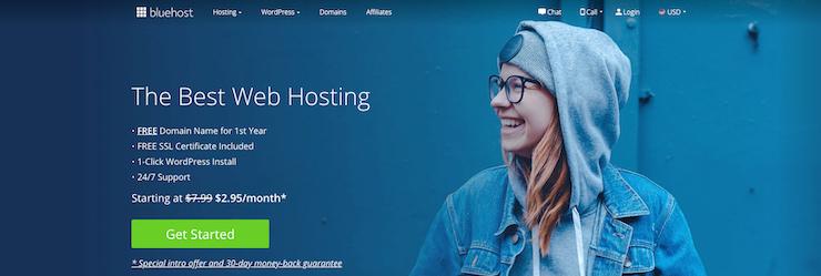 Homepage of Bluehost website