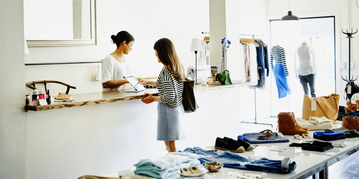 person shopping online boutique