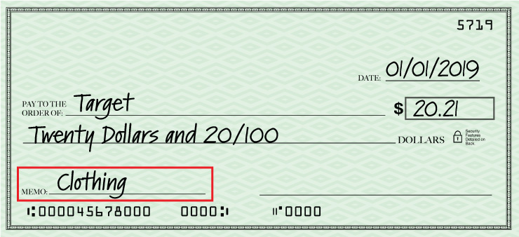 Fifth step of filling out a check is adding the memo of which the check is for