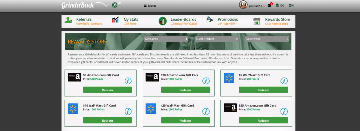 grindaBuck rewards store page