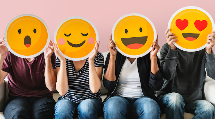 Group of people with emoji sticker faces