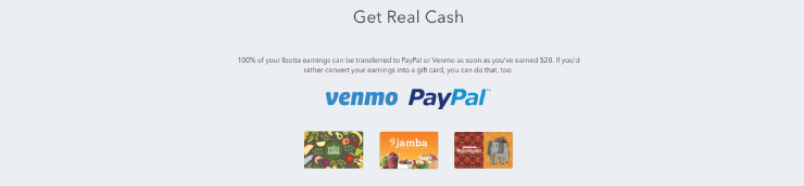 Get real cash or giftcards on ibotta