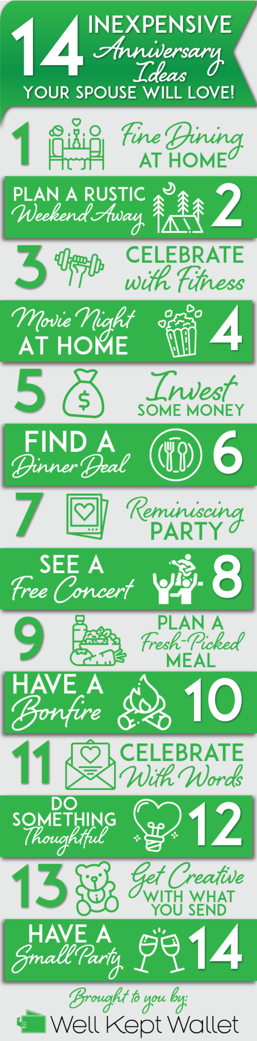 Inexpensive anniversary gifts infographic pinterest pin