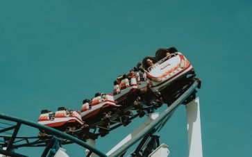 Rollercoaster full of kids having fun