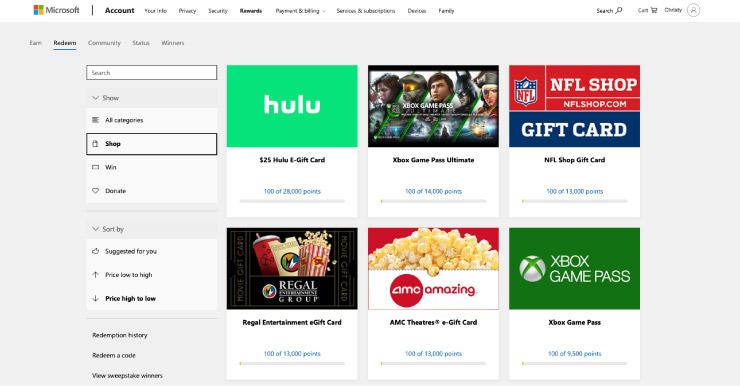 Microsoft rewards redeem giftcards page