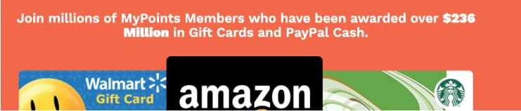 Mypoints rewards including amazon gift cards