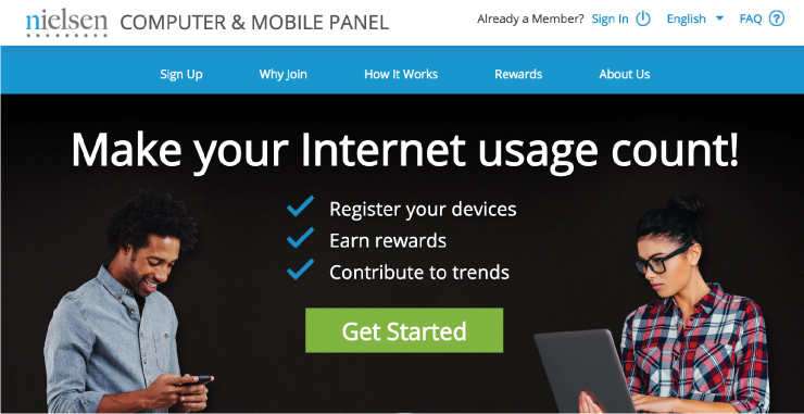 Neilsen website showing that you can make money by just registering a device.
