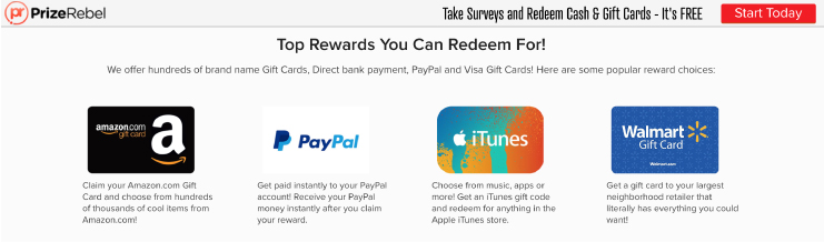 PrizeRebel's top rewards including free amazon gift cards