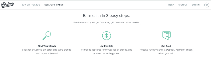Screenshot of raise website of how they can help you make money with your gift cards