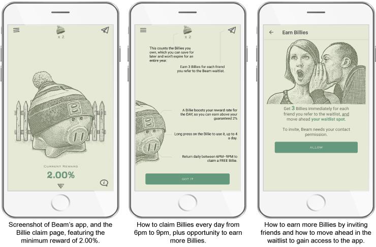 3 app screenshots on phone of Beam app of how Billies work