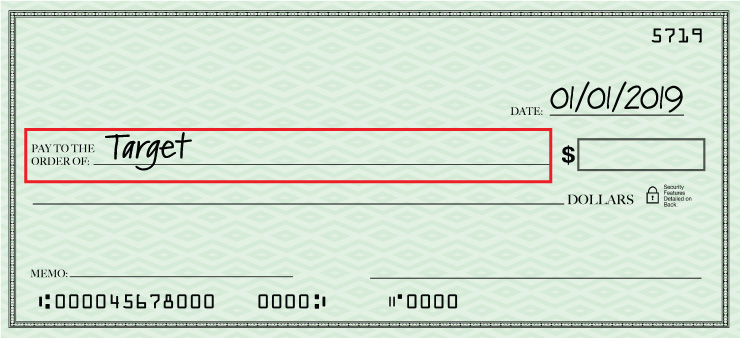 The second step of filling out a check is writing who it is for
