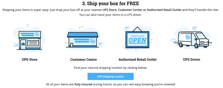 Shipping process and options for decluttr