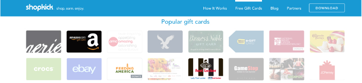 Some of the gift cards offered as rewards from Shopkick. Including Amazon Giftcards