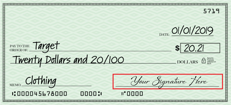 Final step of filling out a check is signing it.