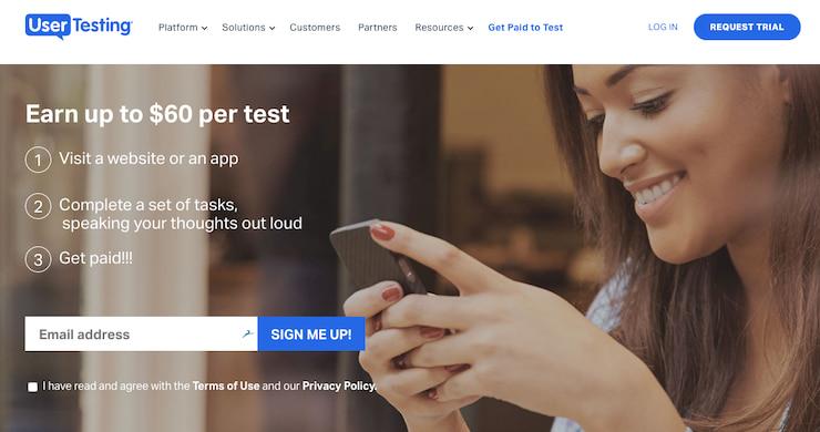 UserTesting Sign up information page