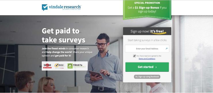 Screenshot of Vindale Research website