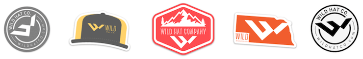 Examples of free Wild Hat Co stickers