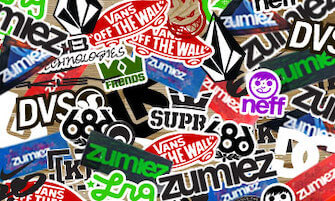 Examples of Zumiez stickers that they give out