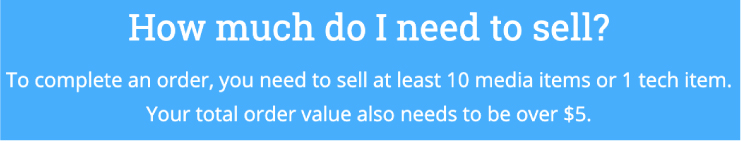 How many items you need to sell, and how much it has to total