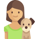 Young woman and dog icon