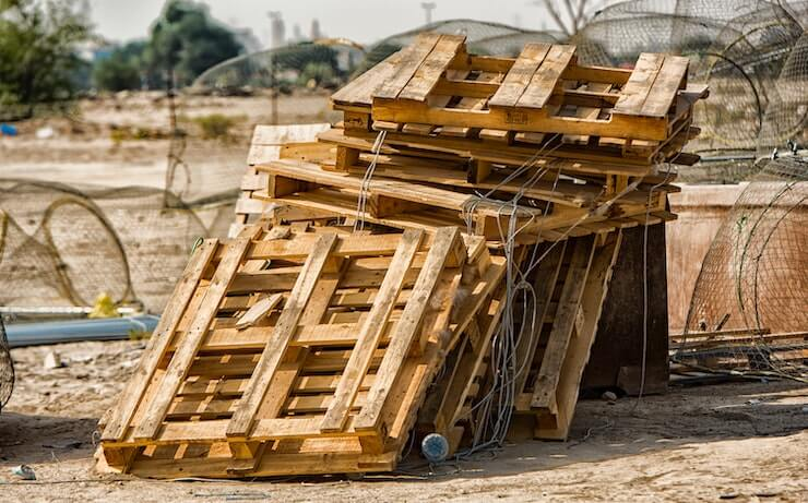 Pile of abandoned wood pallets to be recycled or up cycled
