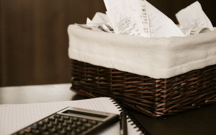 Basket of receipts in a basket to use for tax deductions