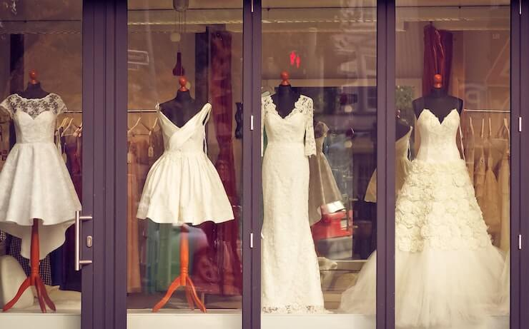 wedding dresses on display to be rented